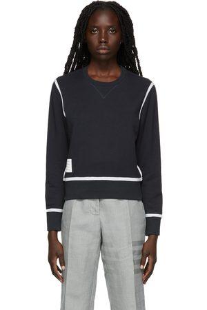Thom Browne Navy Contrast Stripe Sweatshirt