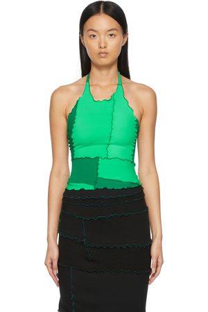 Sherris Women Halterneck Tops - Green Colorblocked Ruffle Halter Tank Top