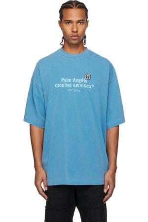 Palm Angels Men T-shirts - Blue Tonal Palm Tree Print T-Shirt