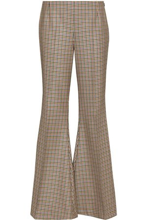 Stella McCartney Houndstooth-pattern flared trousers - Neutrals