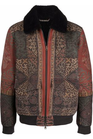 Etro Men Leather Jackets - Paisley-print leather jacket