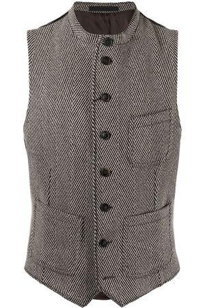 Armani Mix-fabric buttoned waistcoat