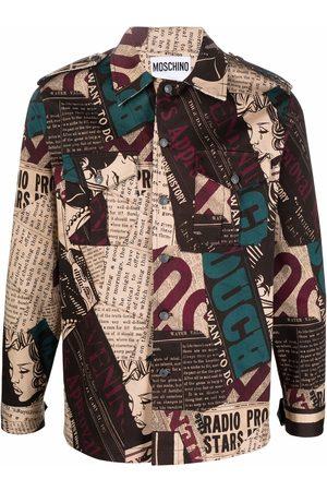 Moschino Newspaper print gabardine shirt jacket
