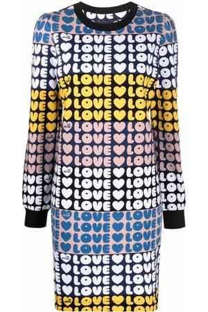 Love Moschino Colourblock love-print longsleeved dress