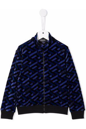 VERSACE Boys Bomber Jackets - La Greca monogram chenille jacket