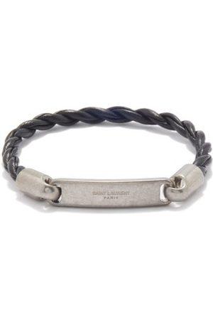 Saint Laurent Logo Plaque & Twisted Leather Bracelet - Mens
