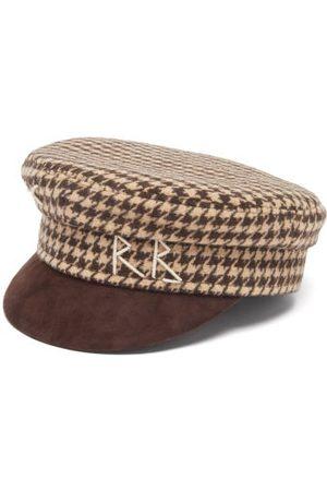 Ruslan Baginskiy Women Caps - Suede-brim Houndstooth Cotton-blend Baker Boy Cap - Womens - Multi
