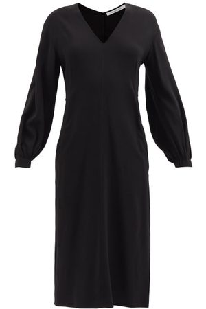 Another Tomorrow V-neck Crepe Midi Dress - Womens