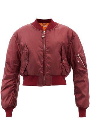 Stella McCartney Vina Cropped Bomber Jacket - Womens - Burgundy