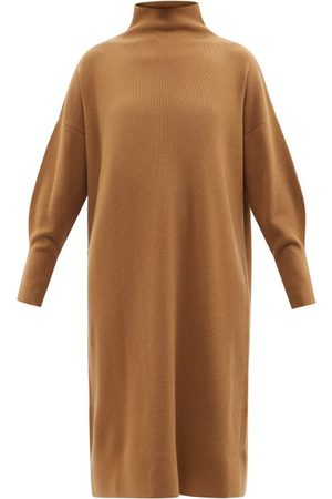 Another Tomorrow Women Casual Dresses - Funnel-neck Cashmere-blend Dress - Womens - Camel