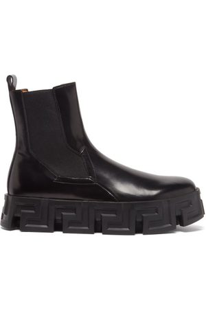 VERSACE Greca-sole Leather Chelsea Boots - Mens