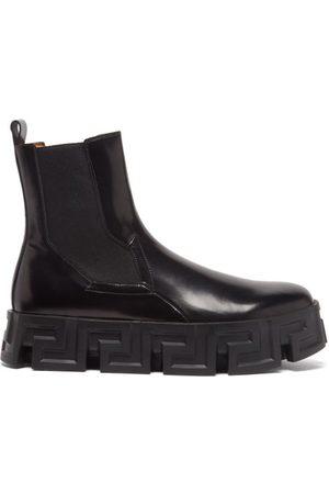 VERSACE Men Chelsea Boots - Greca-sole Leather Chelsea Boots - Mens