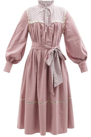 WIGGY KIT Belted Cotton-blend Gingham Midi Dress - Womens - Multi