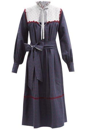 WIGGY KIT Belted Fil Coupé-bib Cotton-blend Midi Dress - Womens - Navy