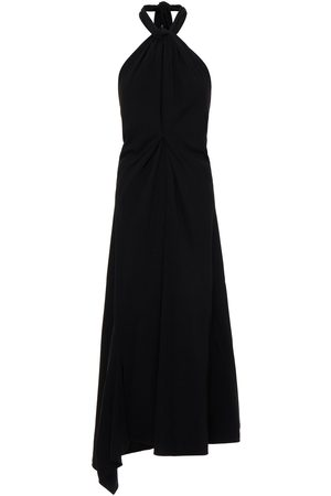 Victoria Beckham Women Asymmetrical Dresses - Woman Asymmetric Pleated Crepe Halterneck Midi Dress Size 12