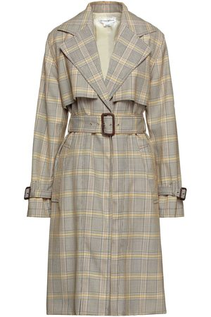 Victoria Beckham Women Trench Coats - Woman Belted Prince Of Wales Checked Wool Trench Coat Size 8