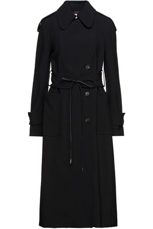 Victoria Beckham Women Trench Coats - Woman Leather-trimmed Double-breasted Crepe Trench Coat Size 10