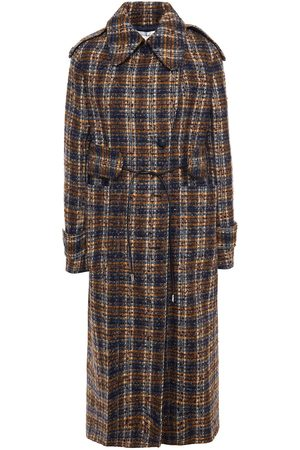 Victoria Beckham Women Trench Coats - Woman Double-breasted Checked Bouclé-tweed Trench Coat Navy Size 8