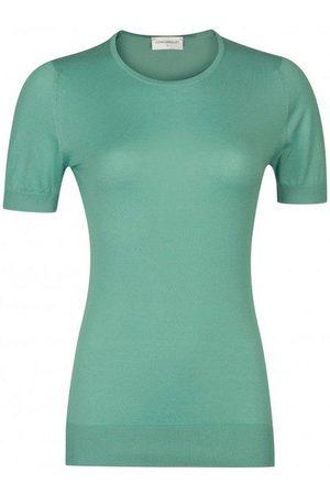 JOHN SMEDLEY Women Tops - Daniella In Reflective Aqua Sea Island Cotton Top