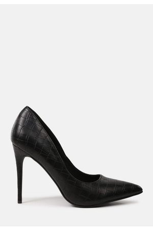 Missguided Women Heeled Pumps - Faux Leather Croc Heeled Pumps