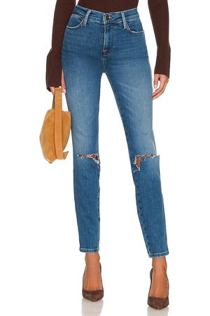 Frame Le High Triple Needle Skinny in Blue.