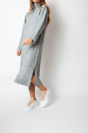 Just Female Unite Knit Dress In Grey Melange