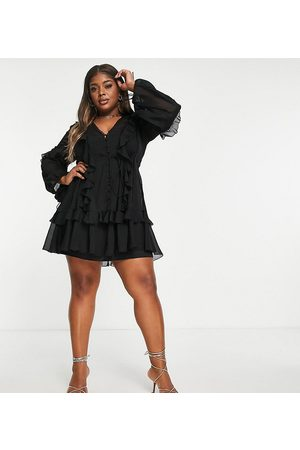 ASOS ASOS DESIGN Curve ruffle mini dress with button front and lace detail