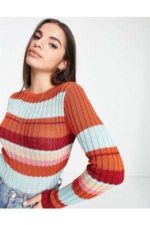 ASOS Women Cardigans - Ribbed sweater in stripe-Multi