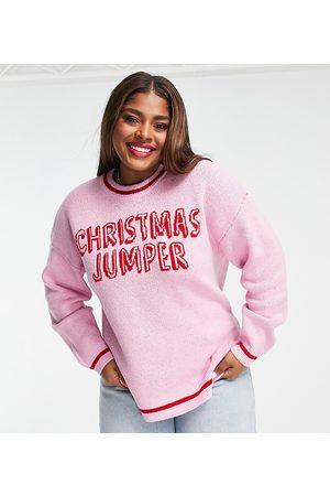 ASOS Women Cardigans - ASOS DESIGN Curve 'Christmas Jumper' slogan sweater in