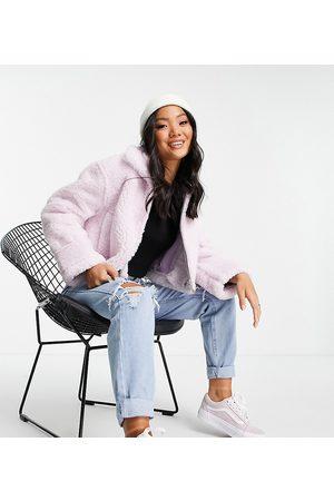 ASOS ASOS DESIGN Petite zip through fleece jacket in lilac