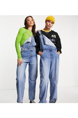Reclaimed Dungarees - Inspired unisex overalls in mid blue-Blues