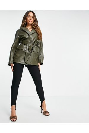 ASOS Women Leather Jackets - Faux leather belted grandad jacket in olive