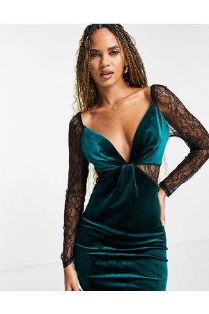 ASOS Lace sleeve velvet body-conscious midi dress in bottle