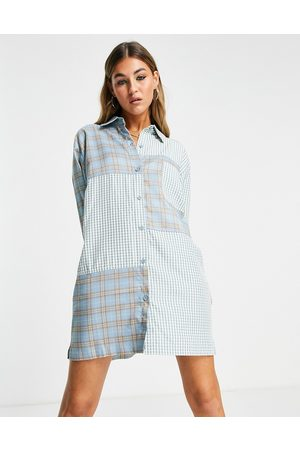 The Ragged Priest Women Casual Dresses - Oversized shirt dress in mix check & stripe-Blues