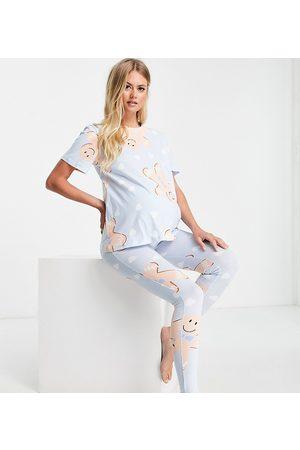 ASOS Women Leggings - ASOS DESIGN Maternity Christmas gingerbread tee & legging pajama set in blue-Blues