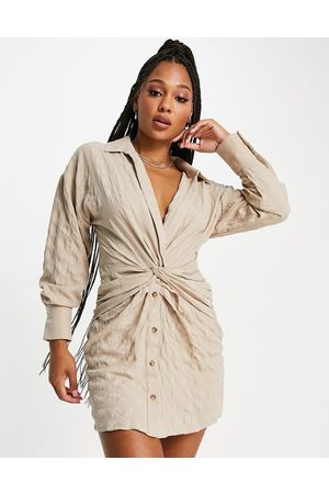 ASOS Women Casual Dresses - Knot front shirt dress in camel-Neutral