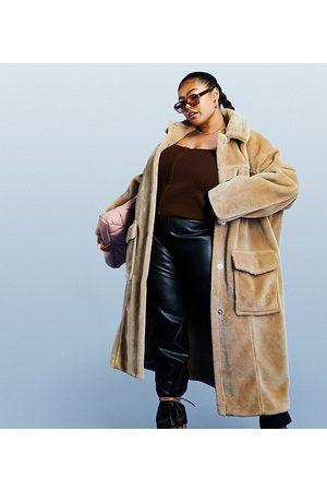 ASOS Women Blazers - ASOS DESIGN Curve longline plush faux fur shacket in camel-Neutral