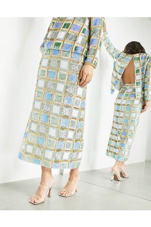 ASOS Women Midi Skirts - Midi skirt in summer check set-Multi