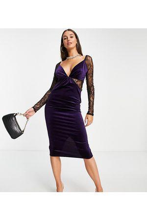 ASOS Women Midi Dresses - ASOS DESIGN Tall lace sleeve velvet body-conscious midi dress in