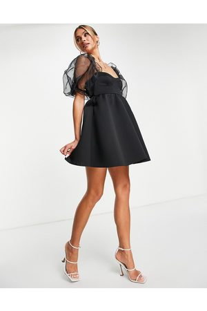 ASOS Women Evening dresses - Puffed organza sleeve babydoll dress in black