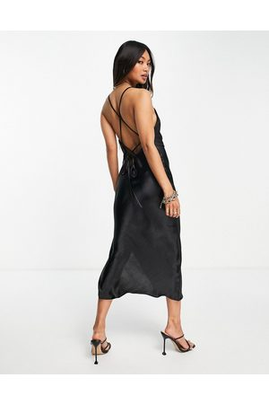 ASOS Women Casual Dresses - Cami midi slip dress in high shine satin with lace up back in