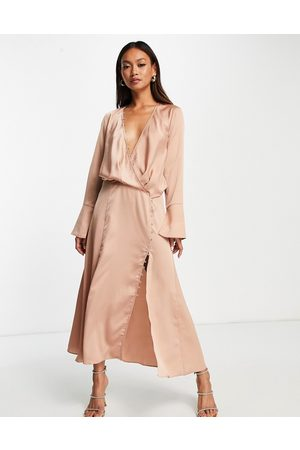 ASOS Women Midi Dresses - Bias cut drape midi dress with button detail in bronze