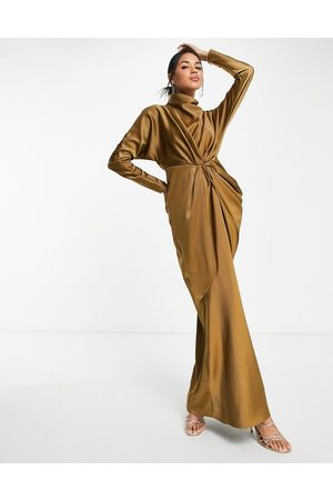 ASOS Women Maxi Dresses - High neck draped satin maxi dress
