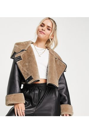 ASOS Women Leather Jackets - ASOS DESIGN Petite bonded luxe cropped aviator jacket in