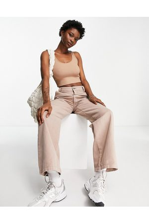 ASOS Low rise 'relaxed' dad pants in taupe