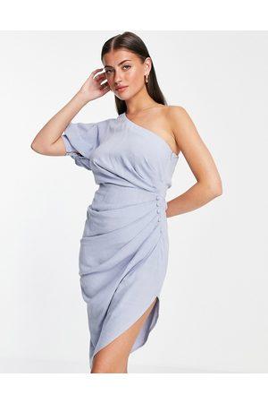 ASOS One shoulder linen midi dress with pleat detail skirt-Blues