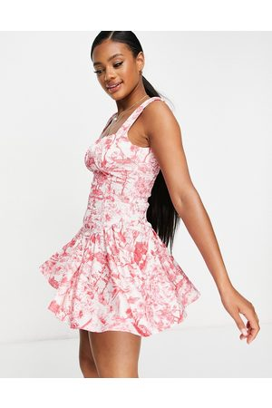 ASOS Women Party Dresses - Ruched bust seamed flippy mini dress in porcelain print-Multi