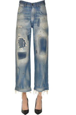 Maison Margiela Women Wide Leg - Cropped destroyed jeans