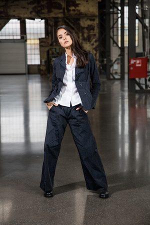 Elli Navy Wide Leg Taffeta Trousers