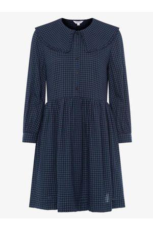 Great Plains Micro gingham frill neck dress, Title: DARK NAVY